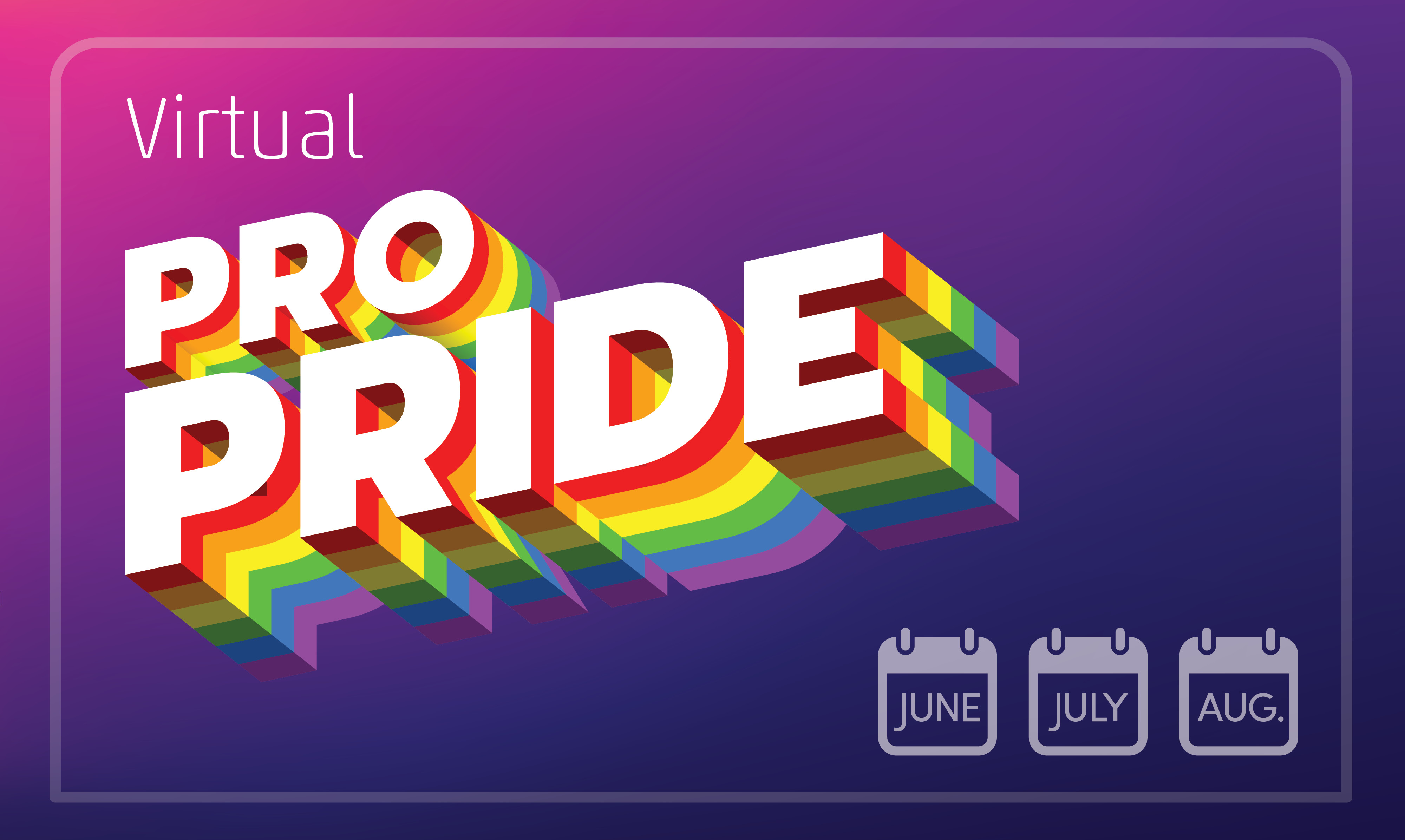 Virtual ProPride logo with icons related to June, July and August