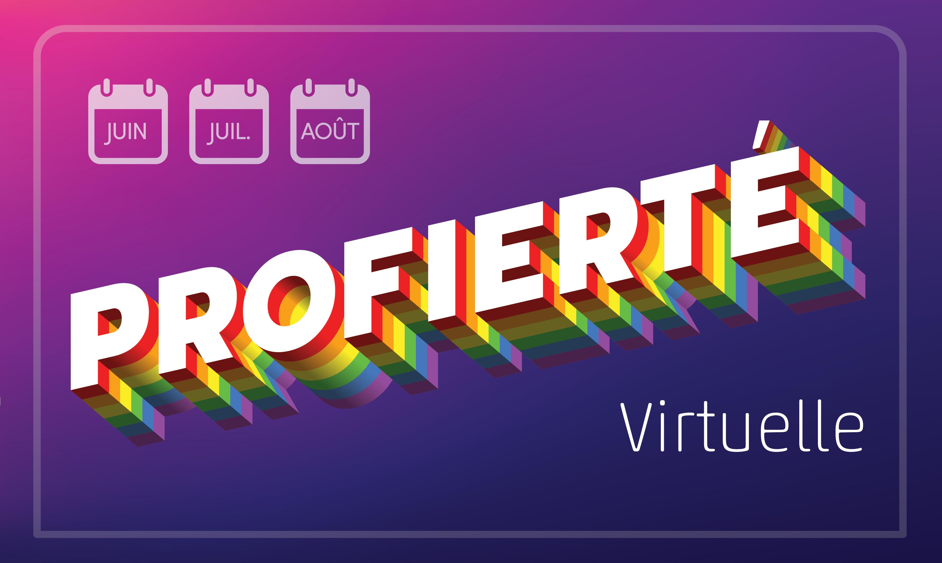Profierté virtuelle logo avec le moins de juin, juillet e août